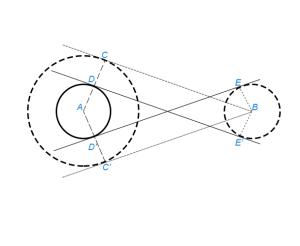 Провести к двум данным окружностям общую внутреннюю касательную