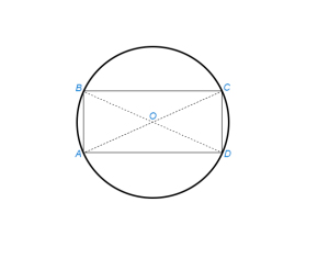 Описать окружность около данного прямоугольника (квадрата)