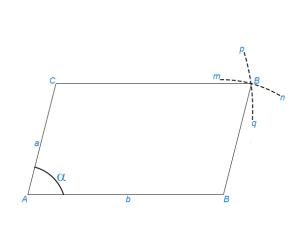 Построить параллелограмм по данным сторонам и одному из углов