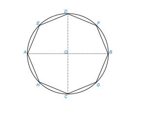Вписать правильный восьмиугольник в данный круг
