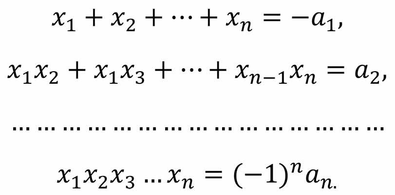 соотношение между коэффициентами многочлена